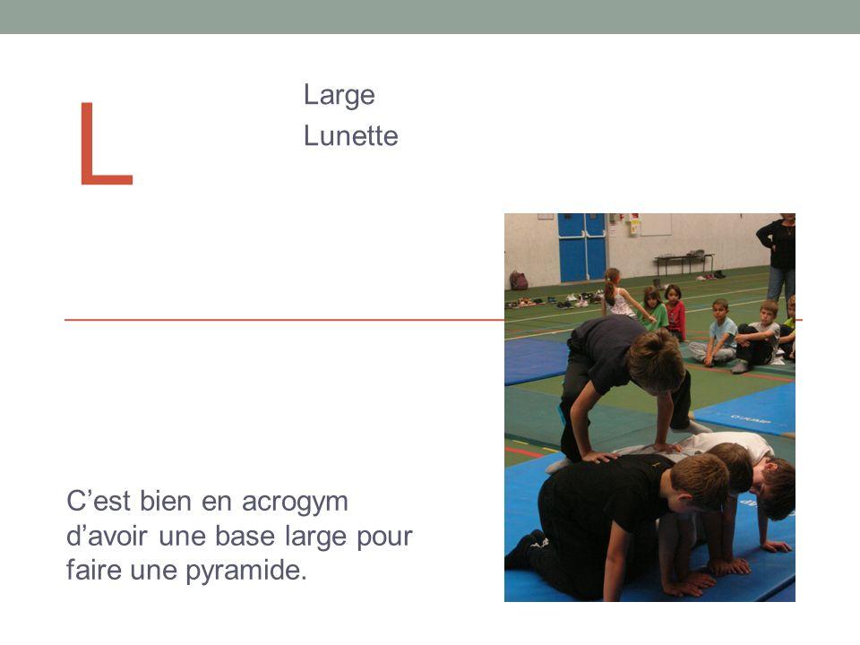 l Large Lunette C'est bien en acrogym d'avoir une base large pour faire une pyramide.