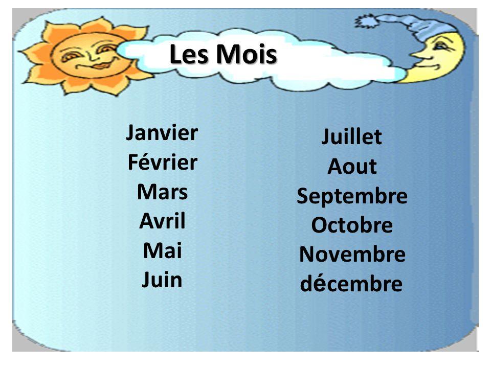Les Mois Janvier Juillet Février Aout Mars Septembre Avril Octobre Mai