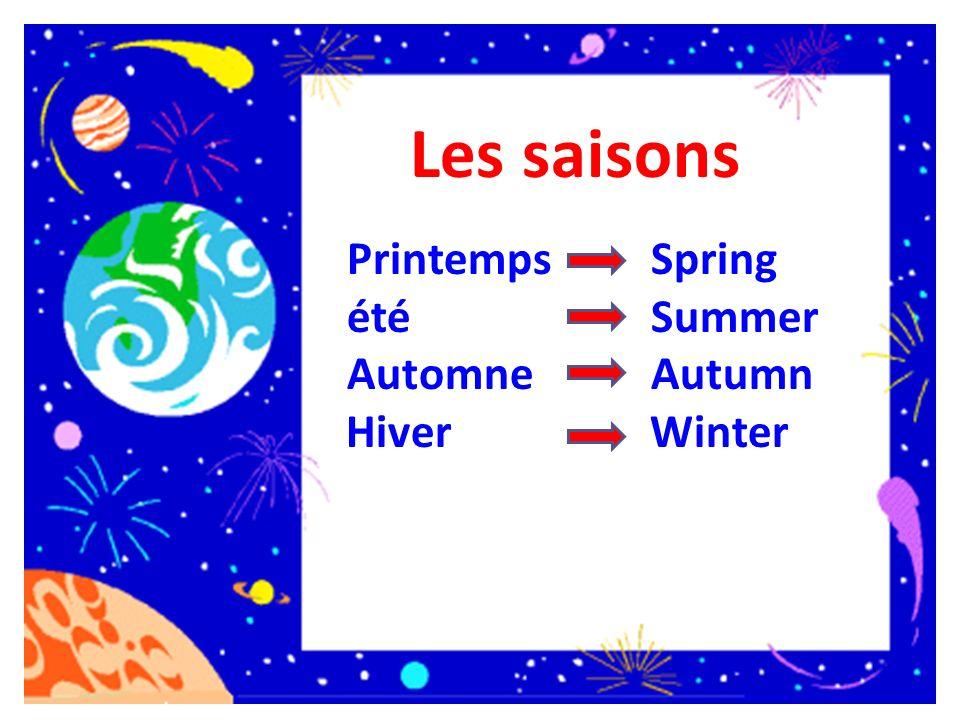 Les saisons Printemps été Automne Hiver Spring Summer Autumn Winter