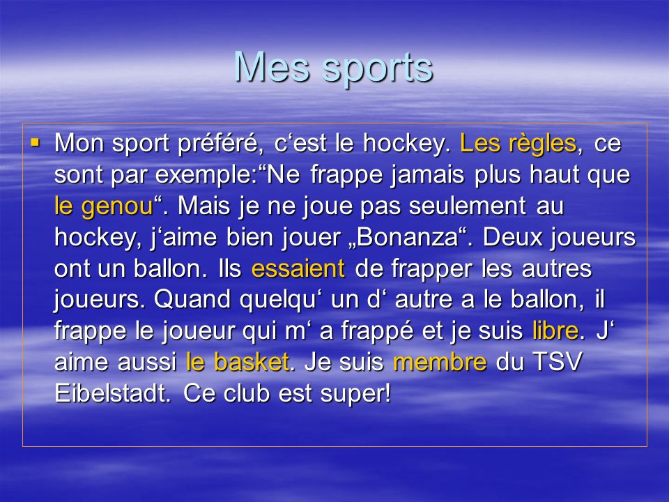 Mes sports
