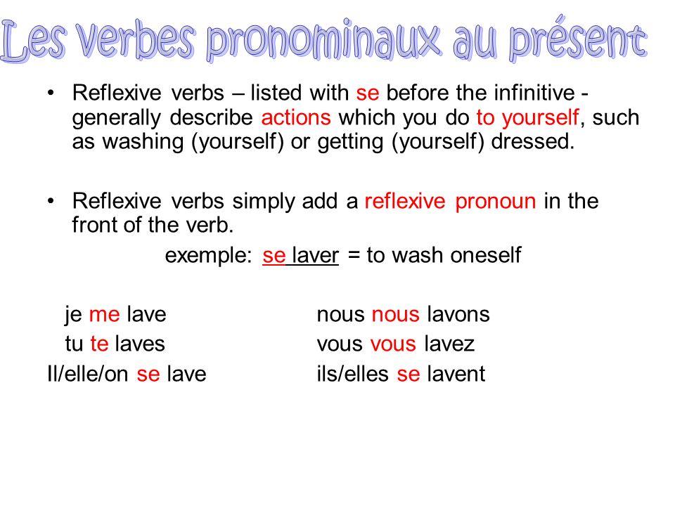 Les verbes pronominaux au présent