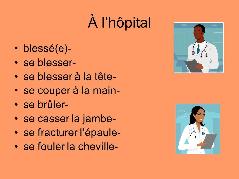 À l'hôpital blessé(e)- se blesser- se blesser à la tête-