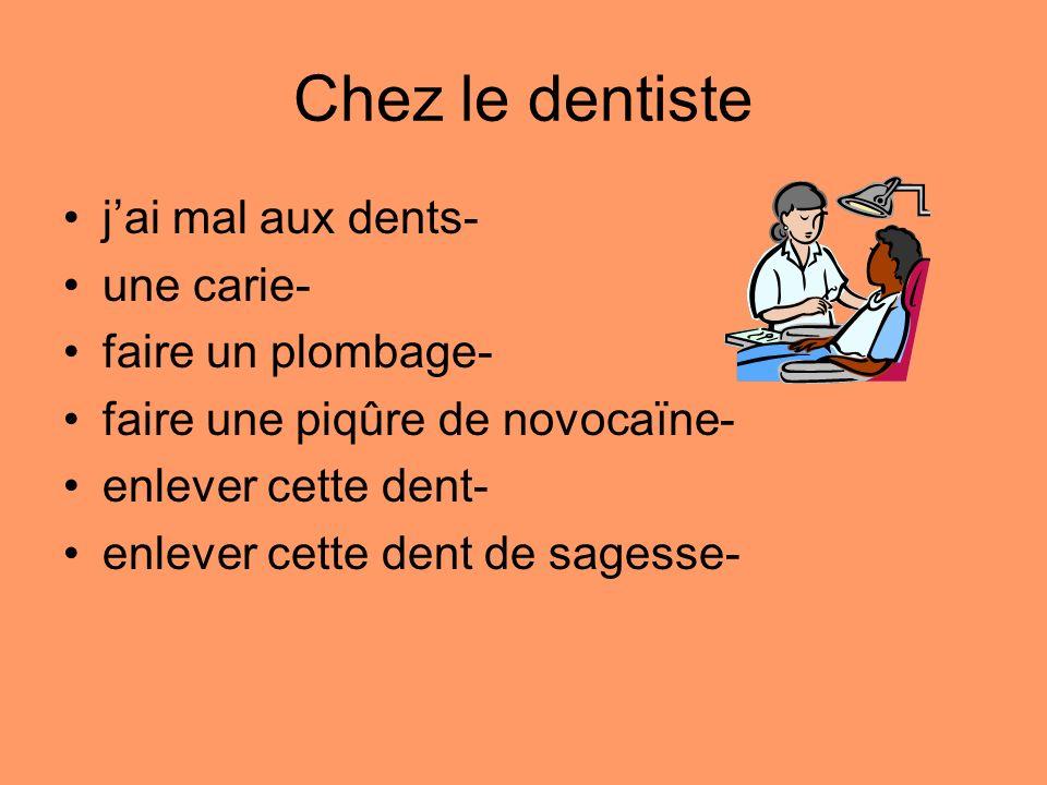 Chez le dentiste j'ai mal aux dents- une carie- faire un plombage-