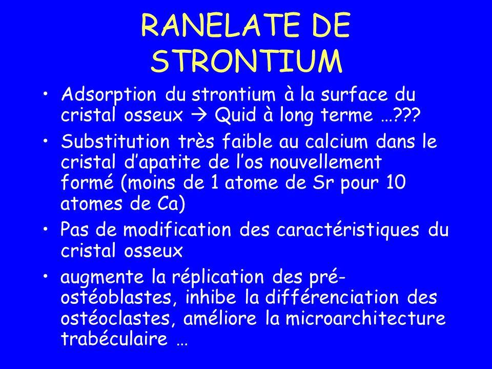RANELATE DE STRONTIUM Adsorption du strontium à la surface du cristal osseux  Quid à long terme …
