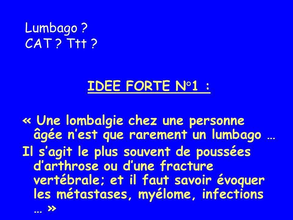 Lumbago CAT Ttt IDEE FORTE N°1 : « Une lombalgie chez une personne âgée n'est que rarement un lumbago …