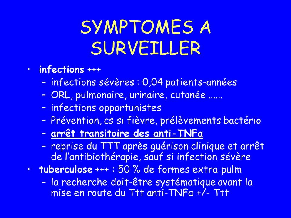 SYMPTOMES A SURVEILLER