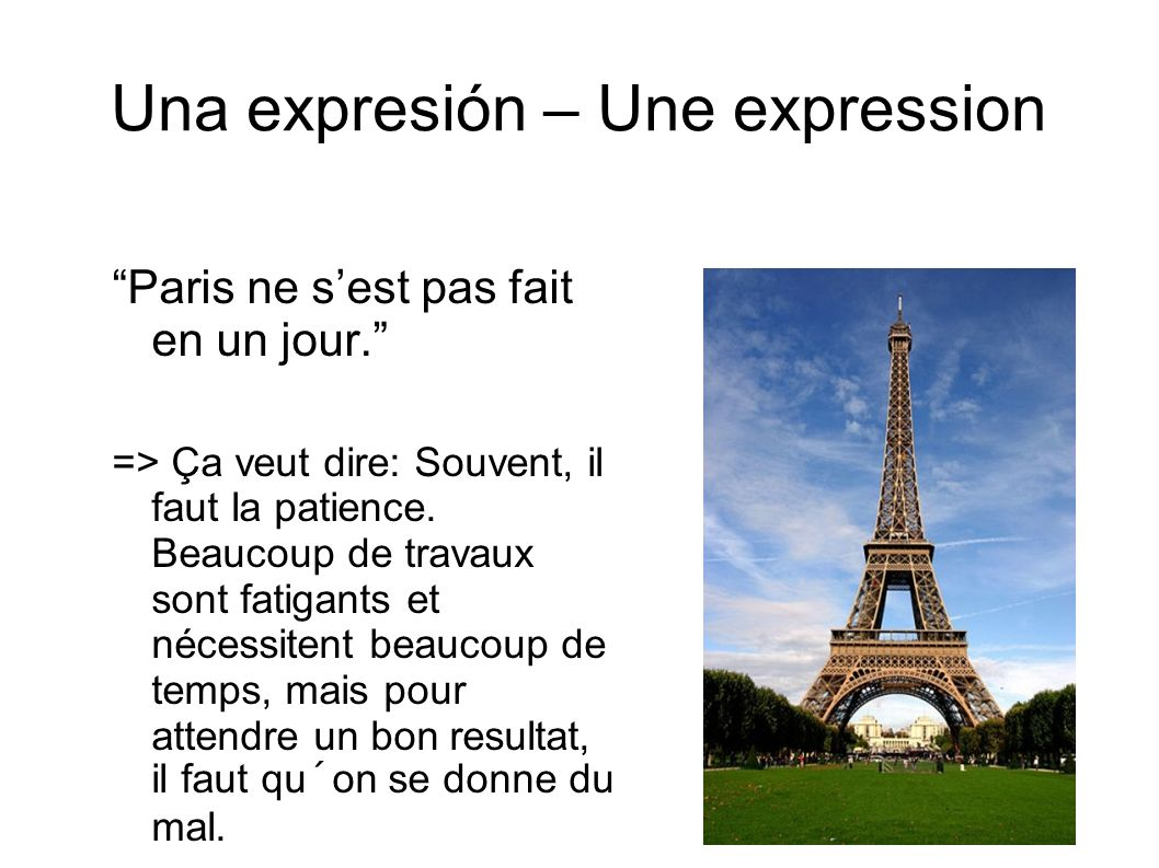 Una expresión – Une expression