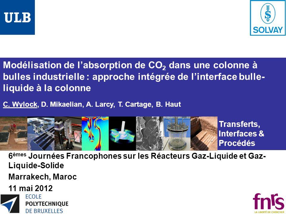 Modélisation de l'absorption de CO2 dans une colonne à bulles industrielle : approche intégrée de l'interface bulle-liquide à la colonne C. Wylock, D. Mikaelian, A. Larcy, T. Cartage, B. Haut