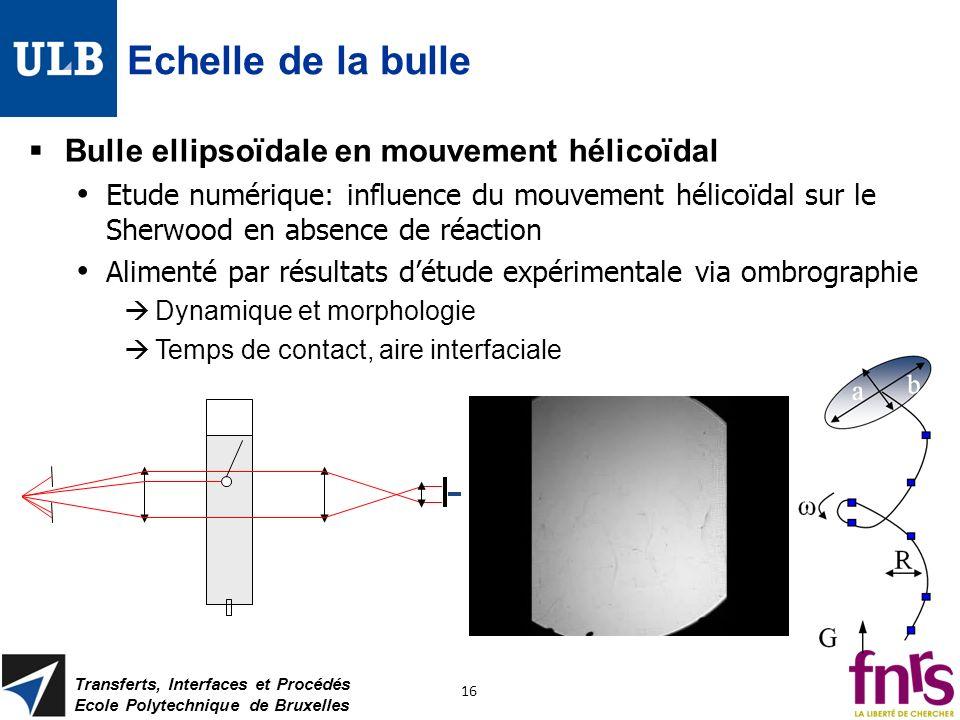 Echelle de la bulle Bulle ellipsoïdale en mouvement hélicoïdal