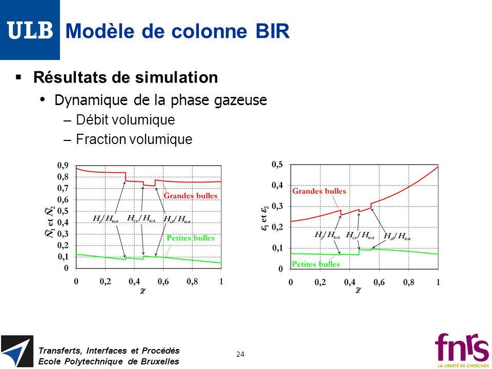 Modèle de colonne BIR Résultats de simulation