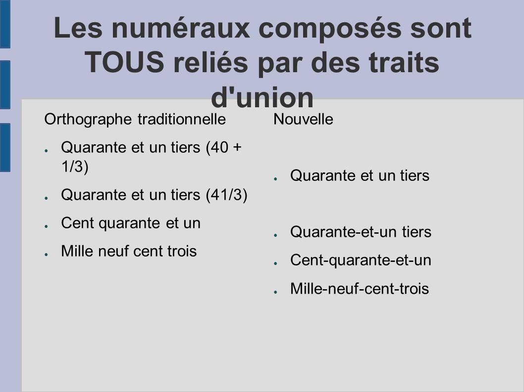 Les numéraux composés sont TOUS reliés par des traits d union
