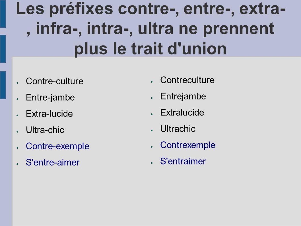 Les préfixes contre-, entre-, extra-, infra-, intra-, ultra ne prennent plus le trait d union