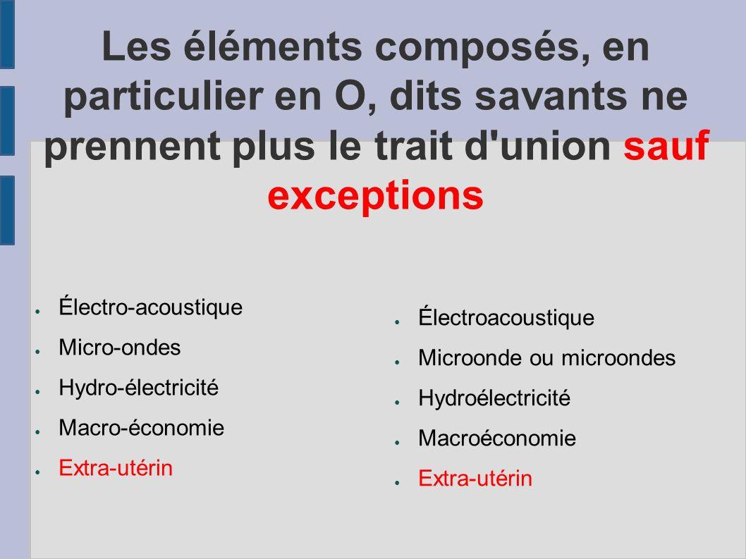 Les éléments composés, en particulier en O, dits savants ne prennent plus le trait d union sauf exceptions