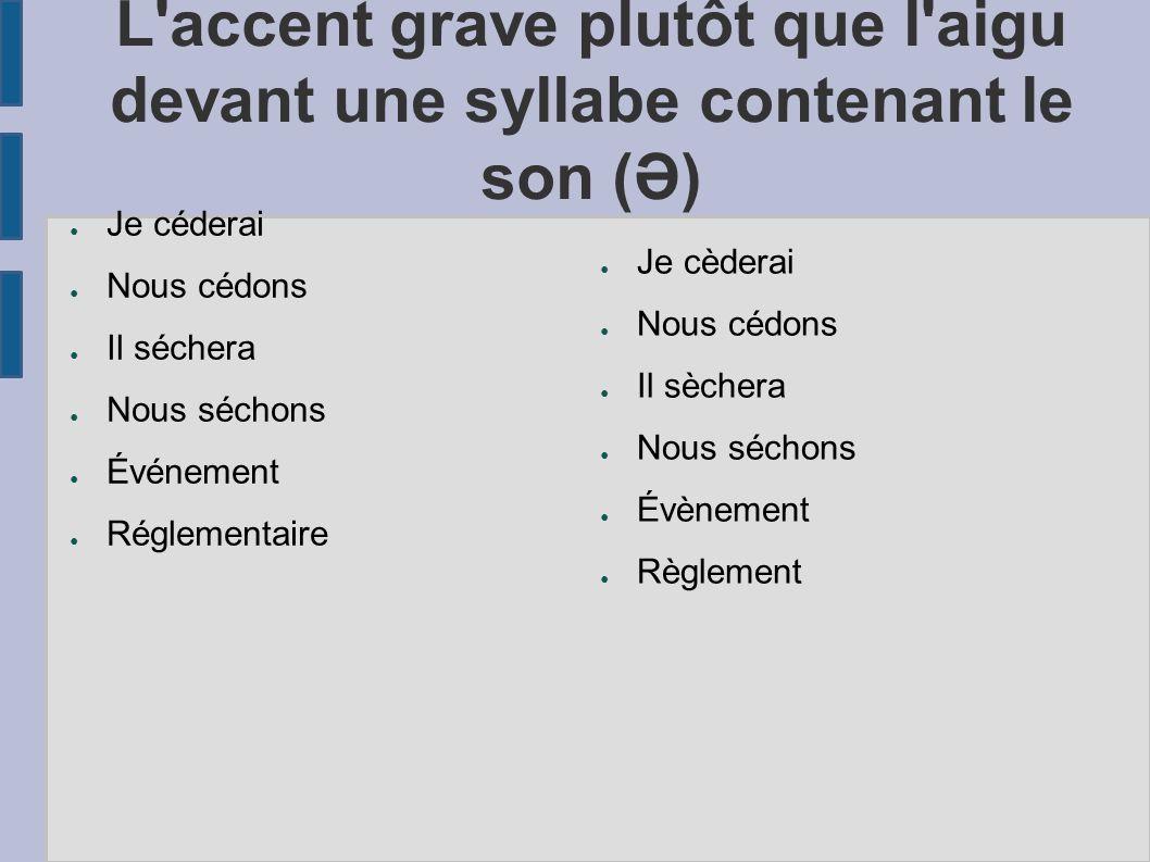 L accent grave plutôt que l aigu devant une syllabe contenant le son (Ə)