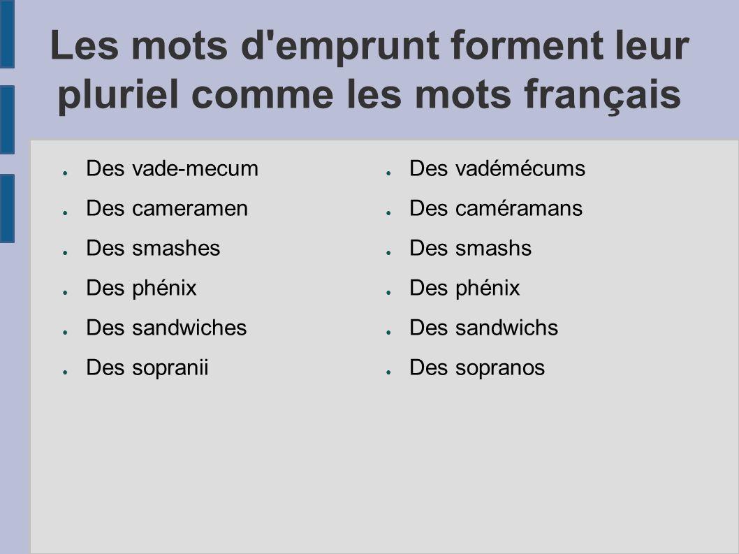 Les mots d emprunt forment leur pluriel comme les mots français
