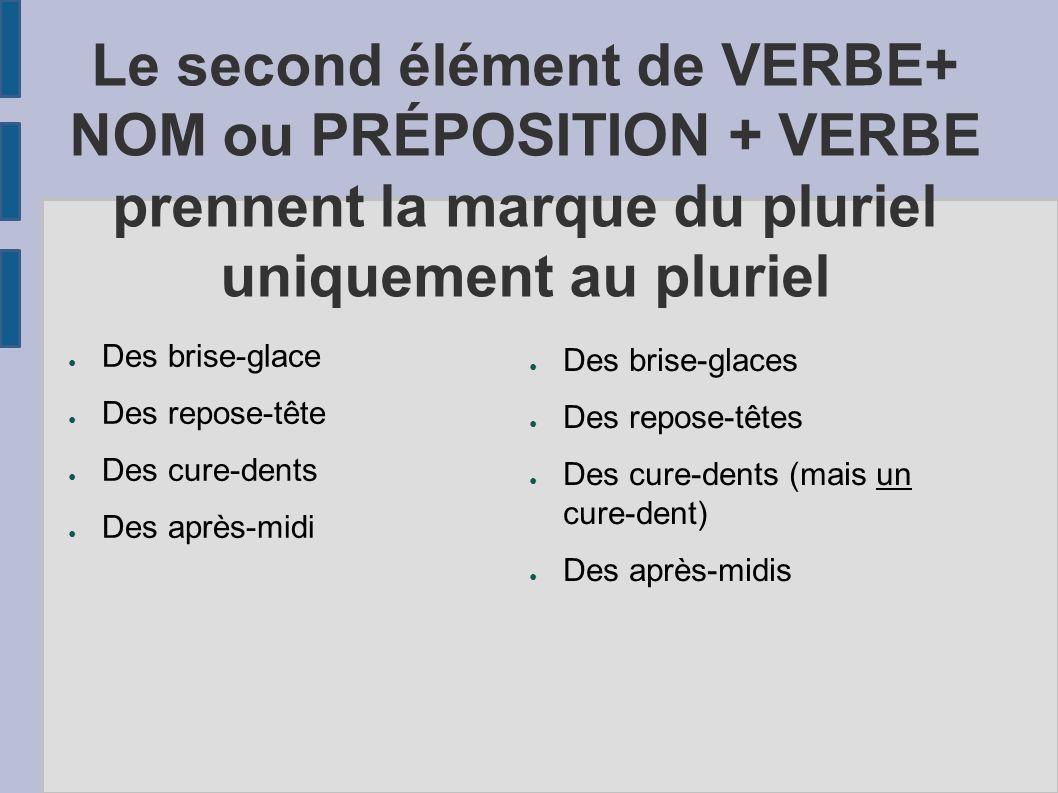 Le second élément de VERBE+ NOM ou PRÉPOSITION + VERBE prennent la marque du pluriel uniquement au pluriel