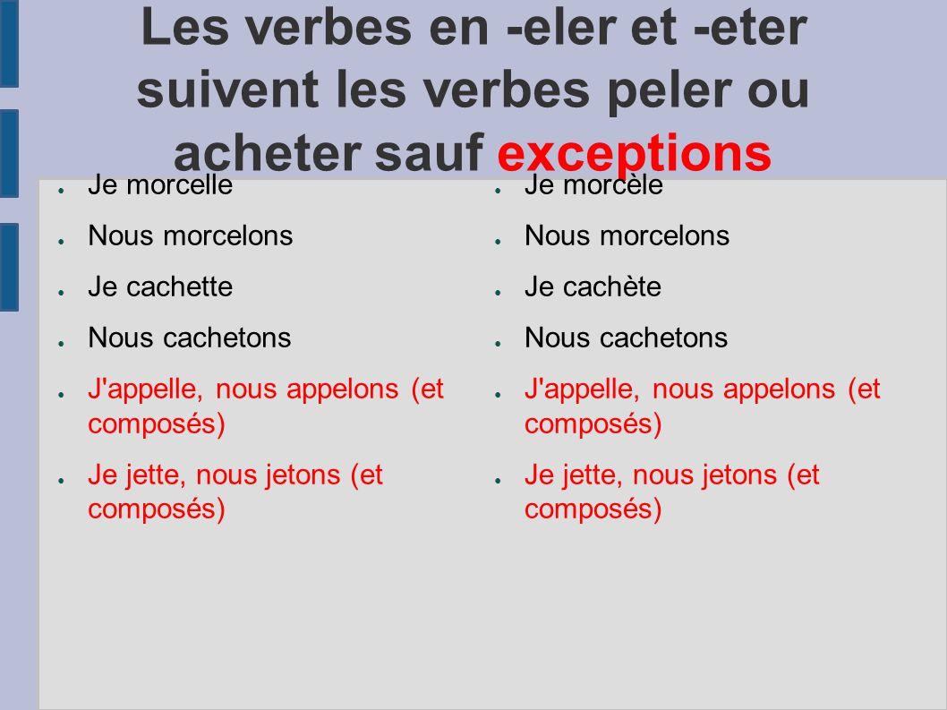 Les verbes en -eler et -eter suivent les verbes peler ou acheter sauf exceptions