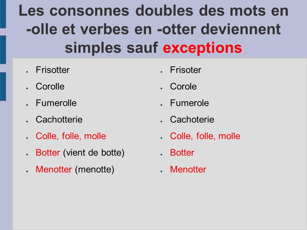 Les consonnes doubles des mots en -olle et verbes en -otter deviennent simples sauf exceptions