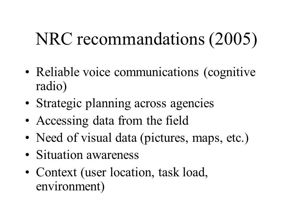 NRC recommandations (2005)