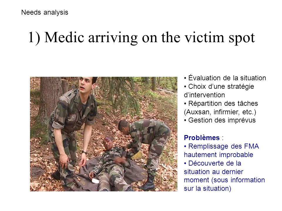 1) Medic arriving on the victim spot