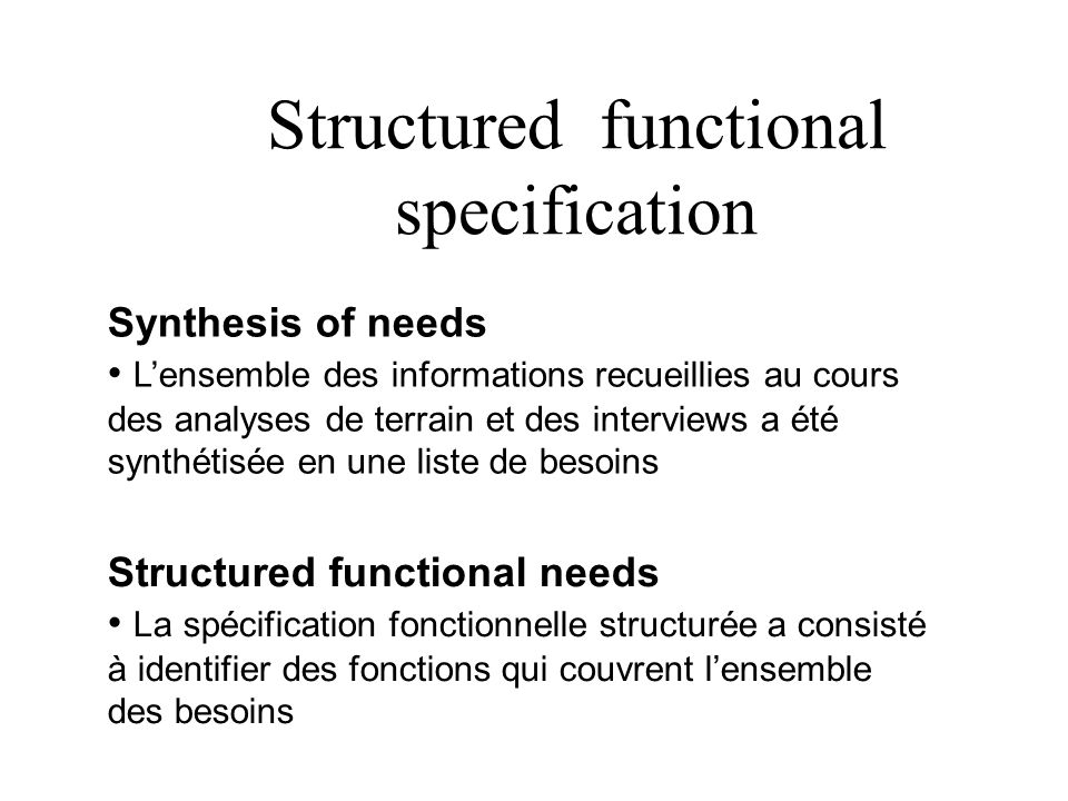 Structured functional specification