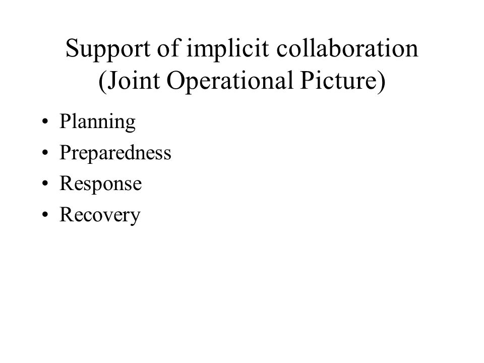 Support of implicit collaboration (Joint Operational Picture)