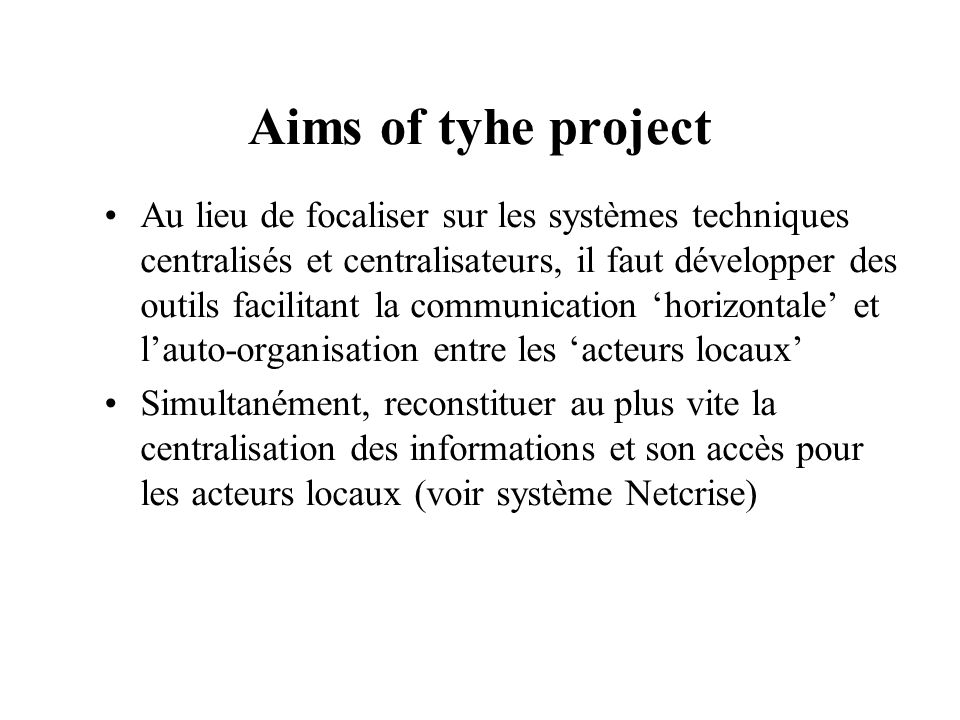 Aims of tyhe project