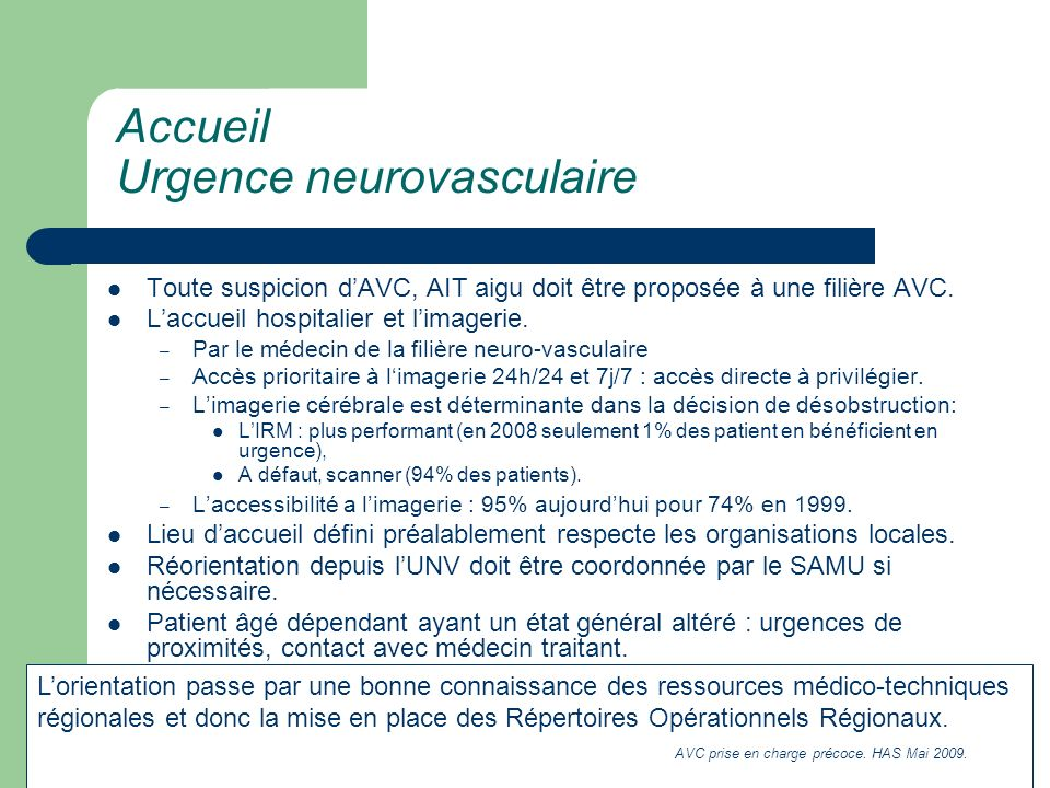 Accueil Urgence neurovasculaire