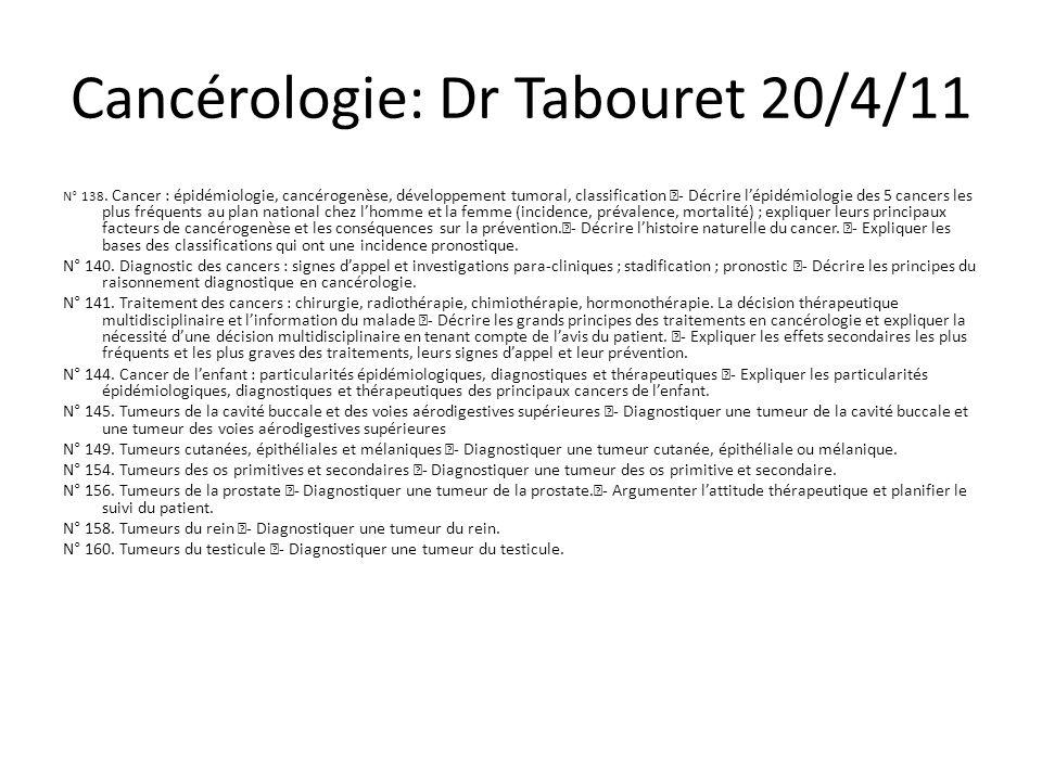 Cancérologie: Dr Tabouret 20/4/11