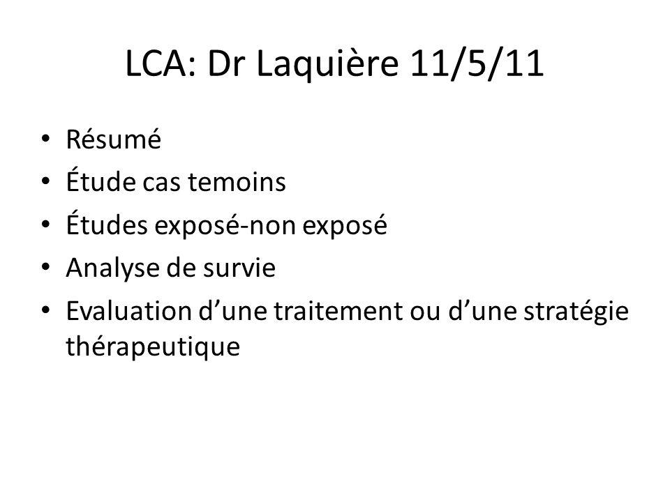 LCA: Dr Laquière 11/5/11 Résumé Étude cas temoins