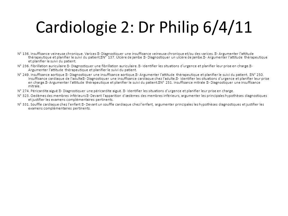 Cardiologie 2: Dr Philip 6/4/11
