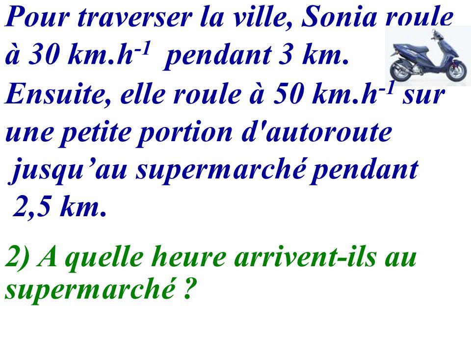 Pour traverser la ville, Sonia roule à 30 km.h-1 pendant 3 km.