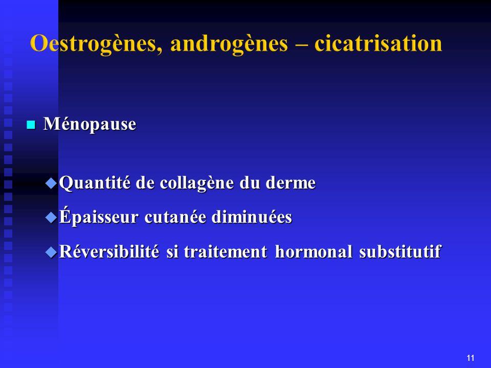 Oestrogènes, androgènes – cicatrisation