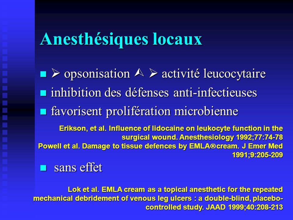 Anesthésiques locaux  opsonisation   activité leucocytaire