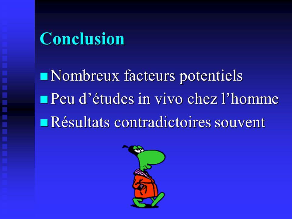 Conclusion Nombreux facteurs potentiels