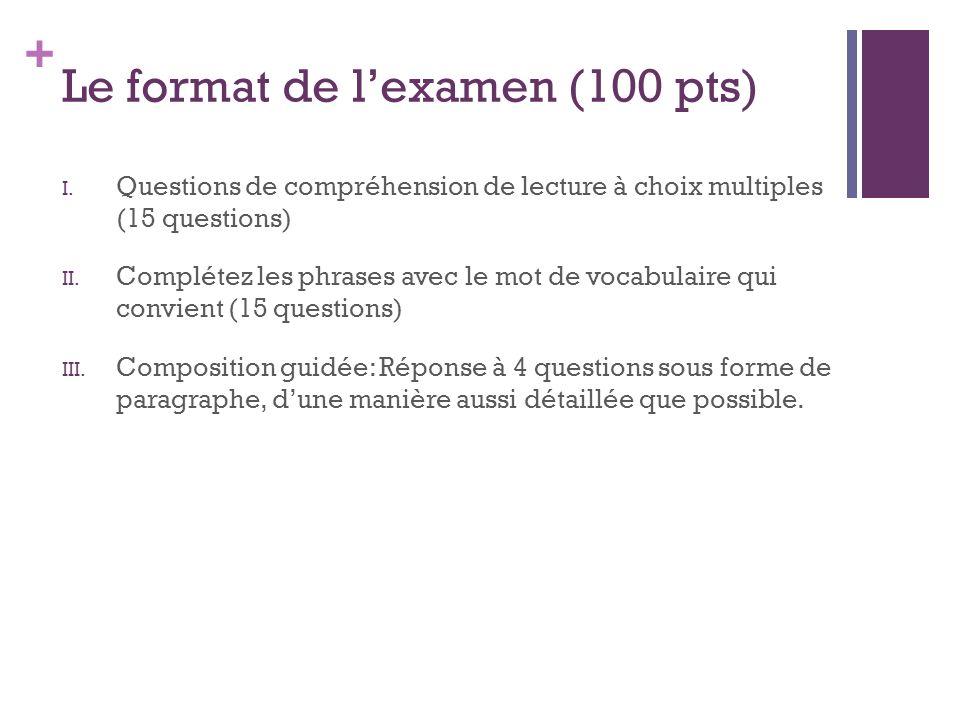 Le format de l'examen (100 pts)