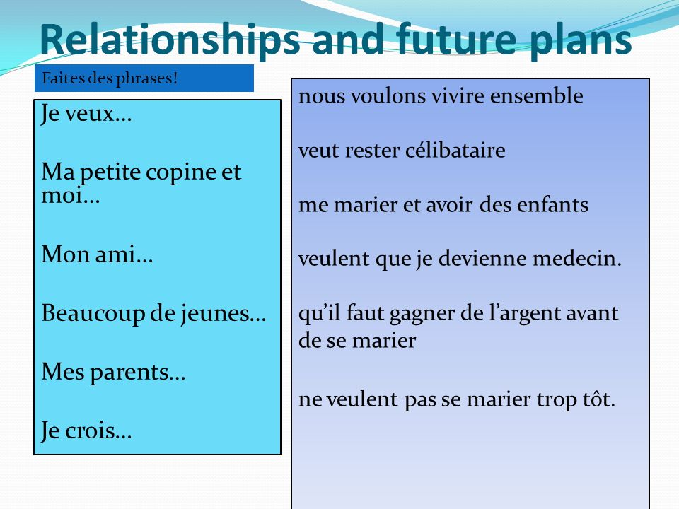 Relationships and future plans