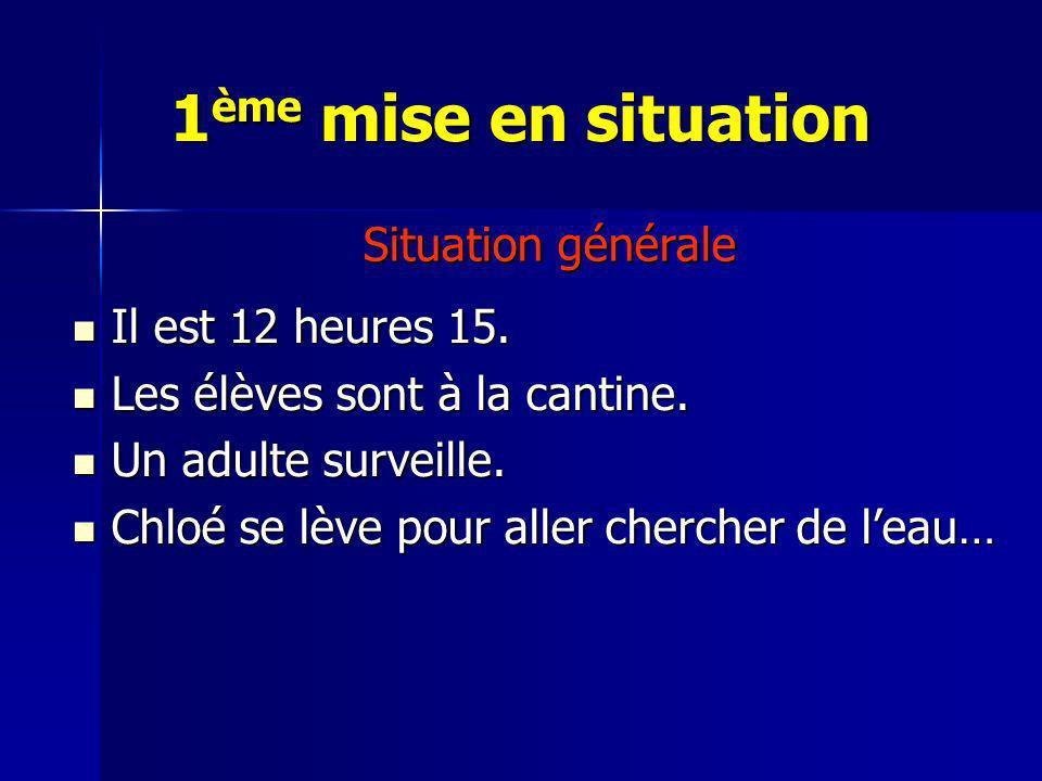 1ème mise en situation Situation générale Il est 12 heures 15.