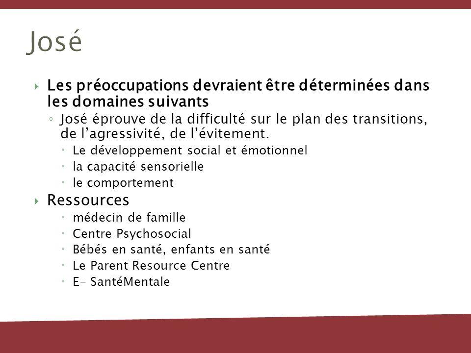 José Les préoccupations devraient être déterminées dans les domaines suivants.