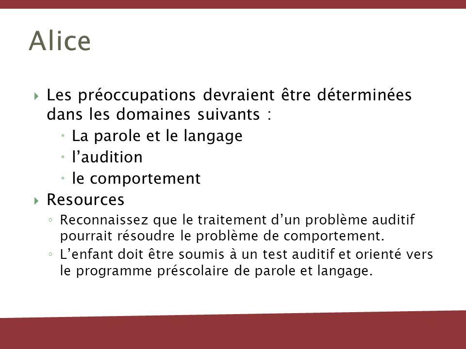 Alice Les préoccupations devraient être déterminées dans les domaines suivants : La parole et le langage.