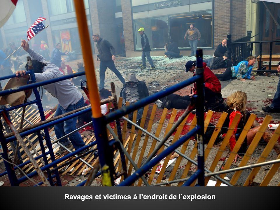 Ravages et victimes à l'endroit de l'explosion
