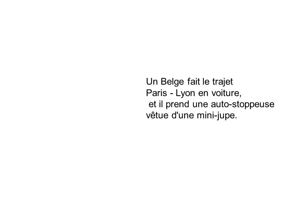 Un Belge fait le trajet Paris - Lyon en voiture, et il prend une auto-stoppeuse.