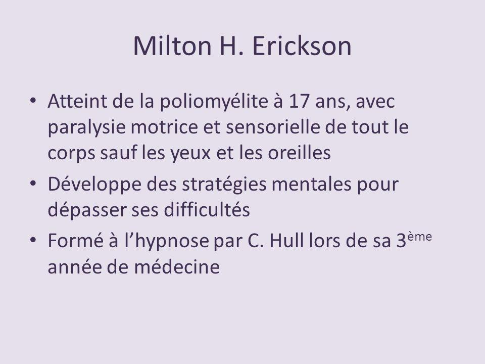 Milton H. Erickson Atteint de la poliomyélite à 17 ans, avec paralysie motrice et sensorielle de tout le corps sauf les yeux et les oreilles.
