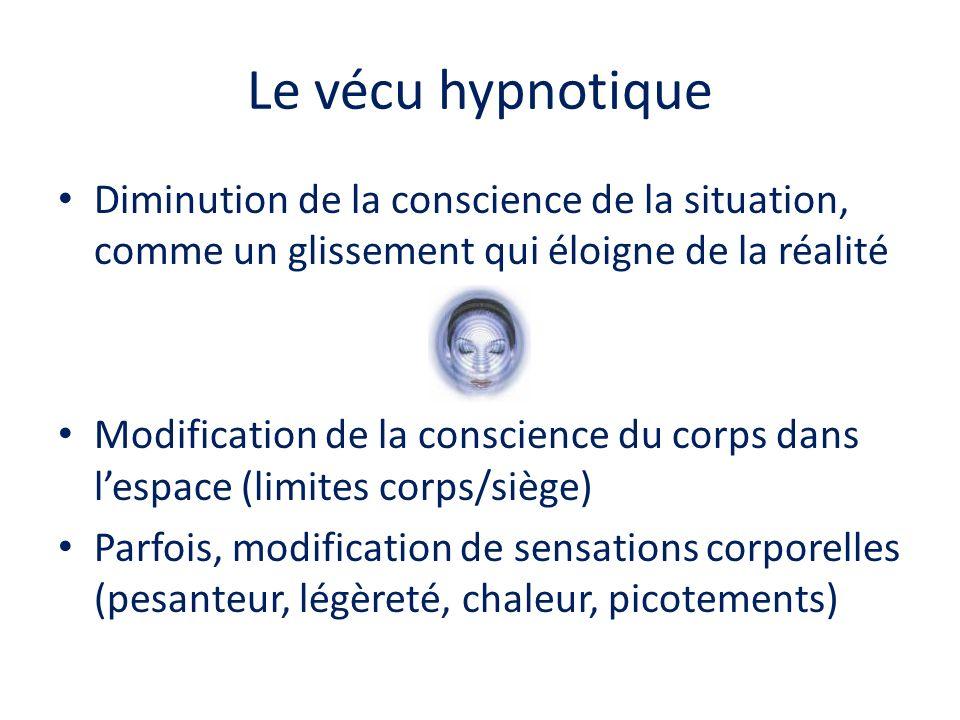 Le vécu hypnotique Diminution de la conscience de la situation, comme un glissement qui éloigne de la réalité.
