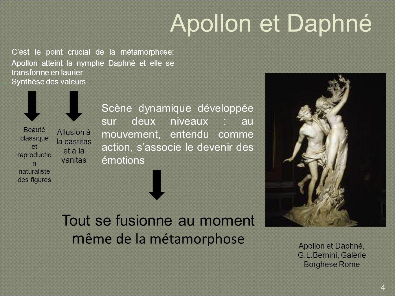 Apollon et Daphné C'est le point crucial de la métamorphose: Apollon atteint la nymphe Daphné et elle se transforme en laurier.