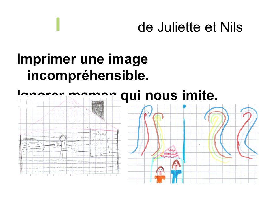 de Juliette et Nils I Imprimer une image incompréhensible. Ignorer maman qui nous imite.