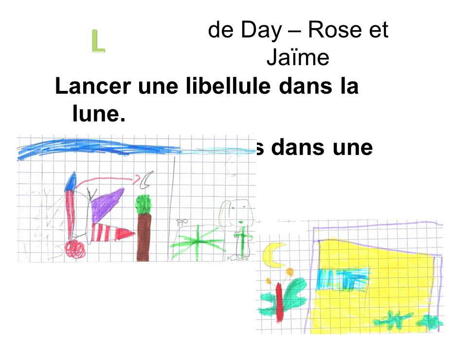 de Day – Rose et Jaïme L Lancer une libellule dans la lune. Lâcher des lézards dans une librairie
