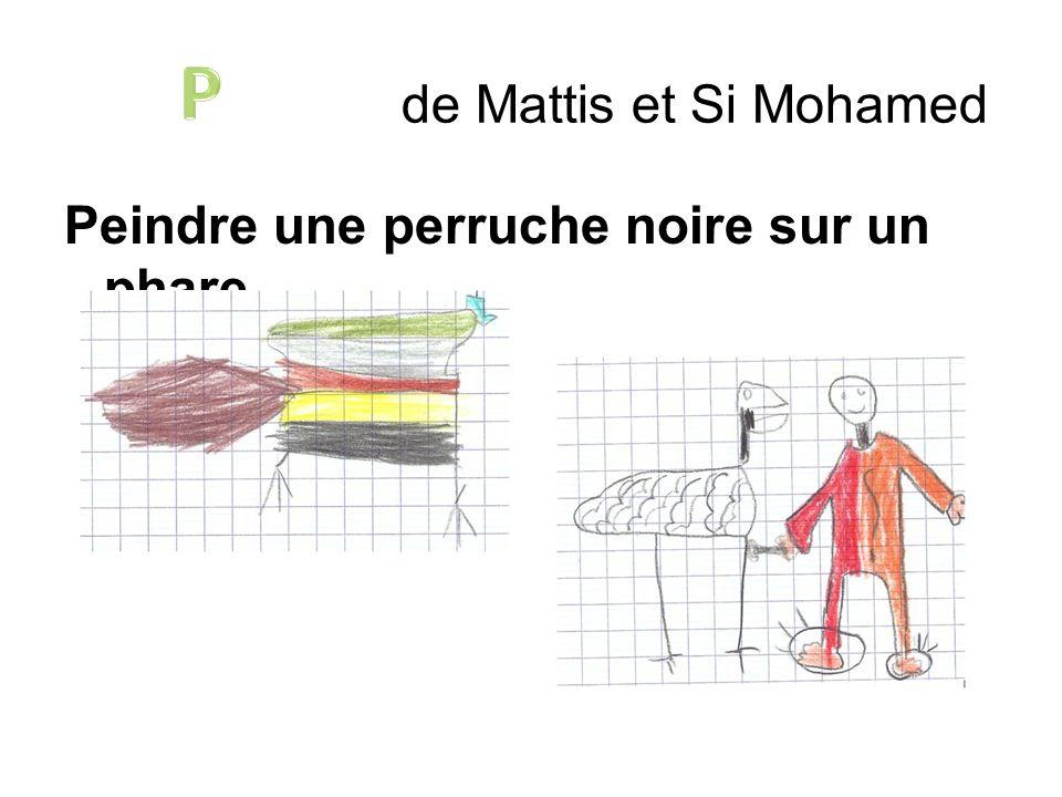 P de Mattis et Si Mohamed Peindre une perruche noire sur un phare.