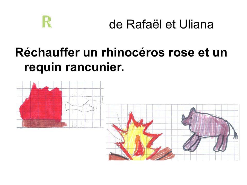 R de Rafaël et Uliana Réchauffer un rhinocéros rose et un requin rancunier.