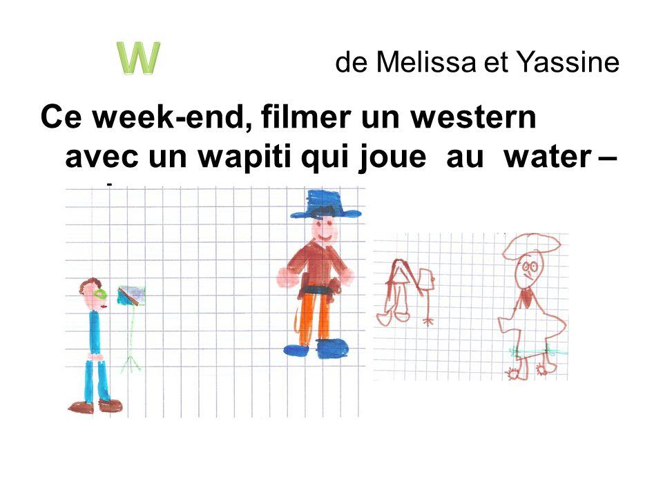 W de Melissa et Yassine Ce week-end, filmer un western avec un wapiti qui joue au water – polo.